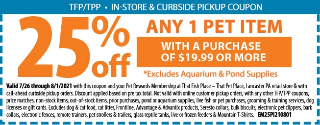 Save 25% Off Any 1 Pet Item